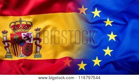Waving flag of Spain and European Union.Eu Flag Spain Flag.