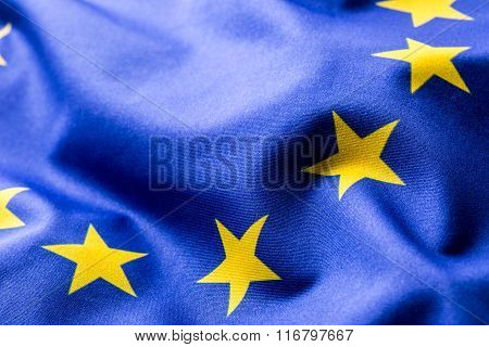 EU Flag. Euro Flag. Flag of European Union waving in the wind. Detailed star flag Euro