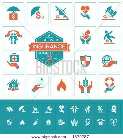 Set insurance icons. Trendy eco vector elements.  Modern flat design.