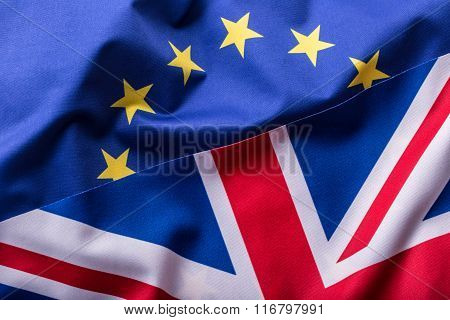 Flags of the United Kingdom and the European Union. UK Flag and EU Flag. British Union Jack flag