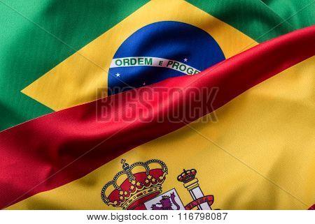 Brasil and Spain. Brasil flag and spain flag