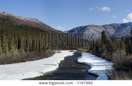 Unfreezing River In Mountain Country