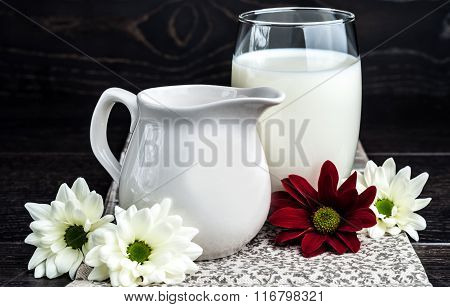 Milk In A Glass On The Table
