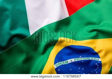 Italia and Brazil. Italian Flag and brazil Flag.