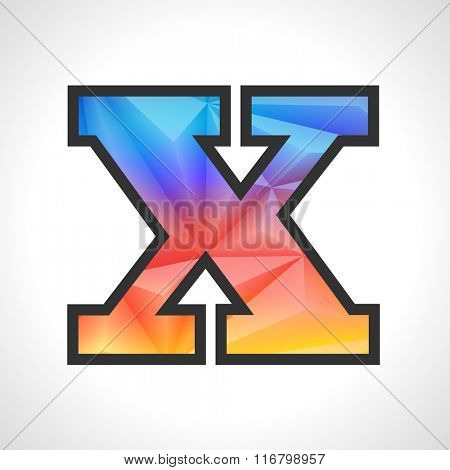 Vector Geometric Gradient Design Triangular Polygonal Font. Children style Letter X