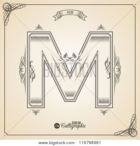 Calligraphic Fotn with Border, Frame Elements and Invitation Design Symbols. Collection of Vector glyph. Certificate and Decor Design Elements. Hand written retro feather Symbol. Letter M