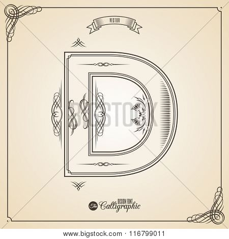 Calligraphic Fotn with Border, Frame Elements and Invitation Design Symbols. Collection of Vector glyph. Certificate and Decor Design Elements. Hand written retro feather Symbol. Letter D
