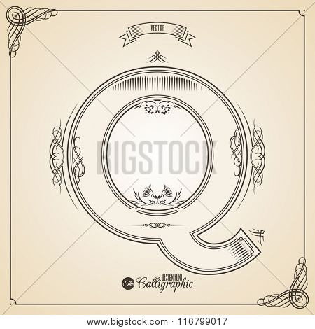 Calligraphic Fotn with Border, Frame Elements and Invitation Design Symbols. Collection of Vector glyph. Certificate and Decor Design Elements. Hand written retro feather Symbol. Letter Q
