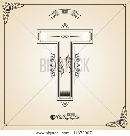 Calligraphic Fotn with Border, Frame Elements and Invitation Design Symbols. Collection of Vector glyph. Certificate and Decor Design Elements. Hand written retro feather Symbol. Letter T