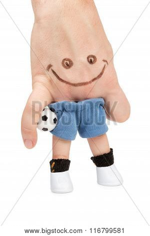 Footballer With Ball Under Arm