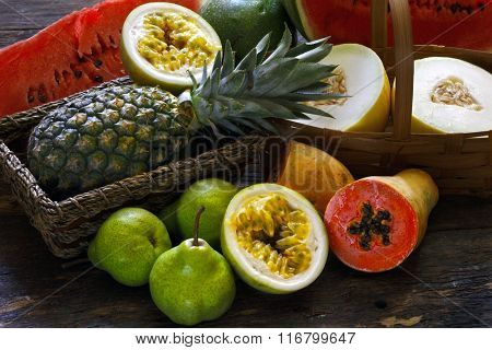 Various fruits, melon, watermelon, passion fruit, pineapple, pear and papaya