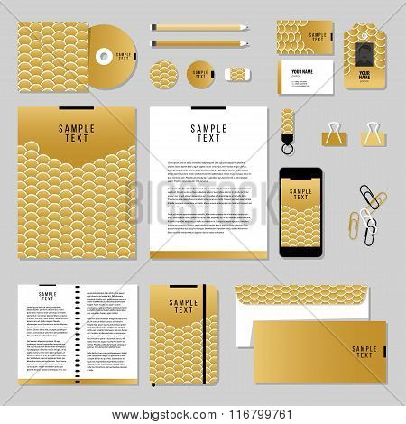 Corporate Identity Business Set Design. Vector Stationery Template Design With Gold Fish Or Snake Sc