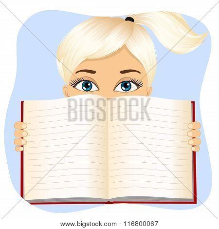 little girl holding a book wide open