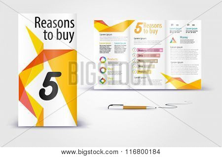 Geometric shapes brochure. Color application booklet template design for corporate identity with statistics and infographics. Cover layout and infographics. Business stationery.