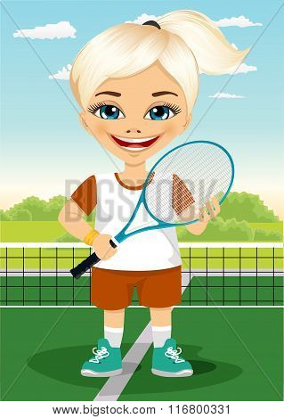 Young little girl with racket and ball on tennis court smiling