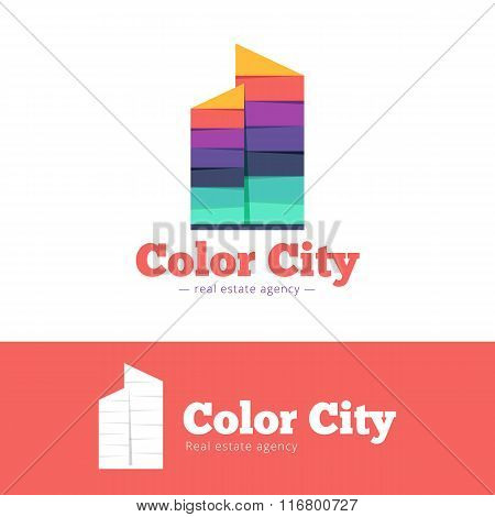 Vector trendy paper style multicolor skyscrappers logo. Real estate flat logotype