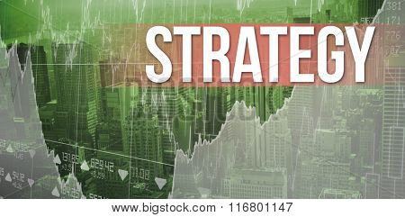 The word strategy and business interface with graphs and data against view of cityscape