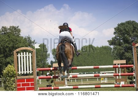 Young Girl Jumping On Horseback