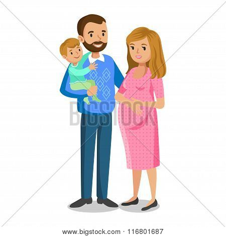 Typical Family In Love, Little Boy And Parents, Pregnant Woman With Baby. People Couples