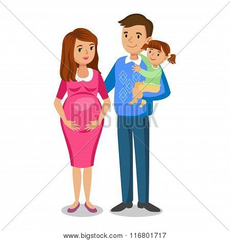 Typical Family In Love, Little Girl And Parents, Pregnant Woman With Baby. People Couples