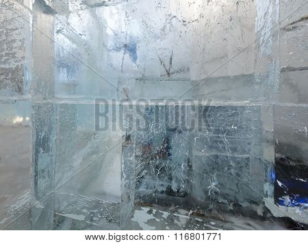 Glacial Transparent Block Of Ice With Patterns.