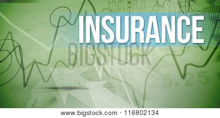 The word insurance and stocks and shares against stocks and shares on black background