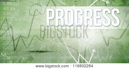 The word progress and stocks and shares against stocks and shares on black background