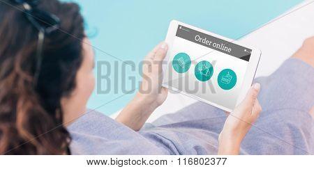 Order online app against brunette using tablet