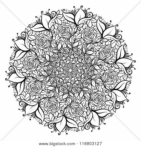 Hand drawn ornate rose flower in the crown of leaves and swirls. Isolated Vector illustration. Invit