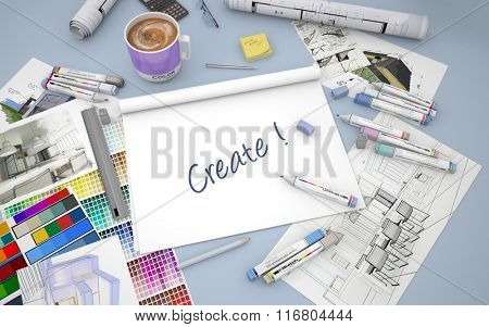 3D rendering of an architect, decorator or designer desk with an open layout notebook with the words be creative