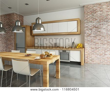 3D rendering of a modern industrial style kitchen
