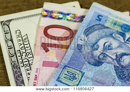 dollars, euro and hryvnia