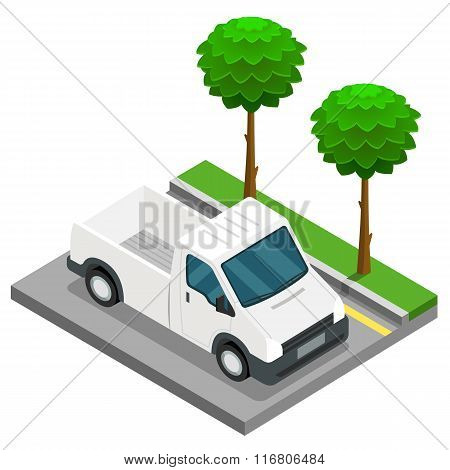 Pickup construction isometric 3d van car truck cargo