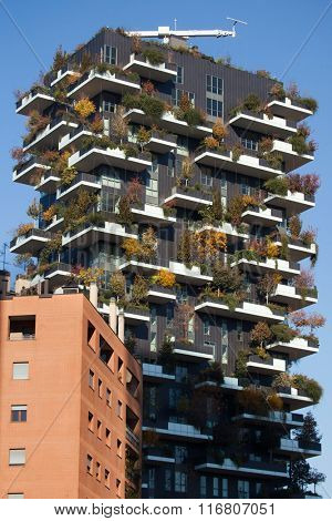 MILAN, ITALY - NOVEMBER 7, 2015: Bosco Verticale (Vertical Forest) residential tower in the Porta Nuova district in Milan, Lombardy, Italy.