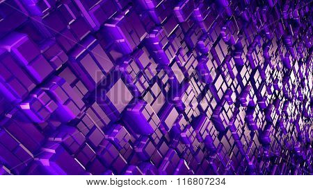 Abstract sci-fi image of rhombs pattern background with perspective