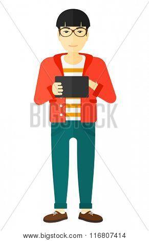 Man using tablet computer.