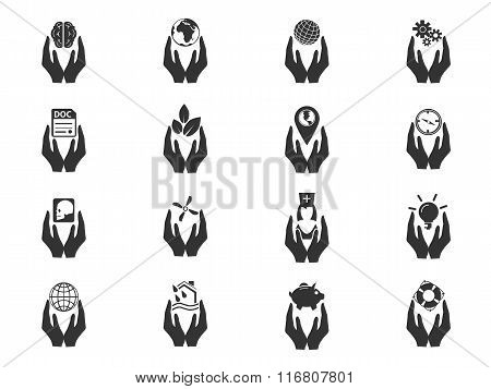 Insurance hands icons