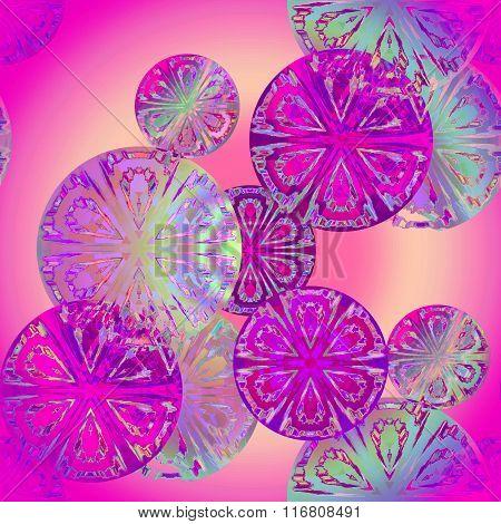 Seamless circle pattern violet purple turquoise