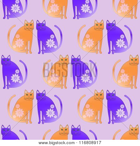 Seamless pattern fantasy cats orange purple