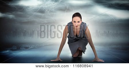 Serious gorgeous woman ready for departure against stormy sky with tornado over road