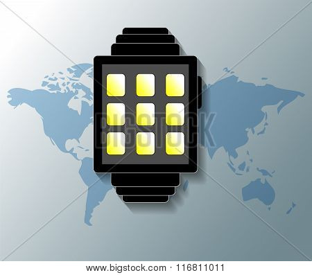 Illustration Of Smartwatch With Grey World Map Background