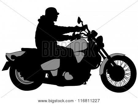 Man on big bike on white background