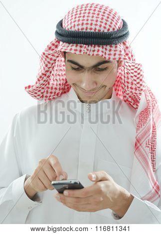 Arabic kid using smartphone