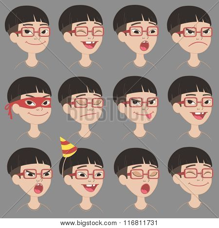 Cute Asian boys's emotions and expressions set.