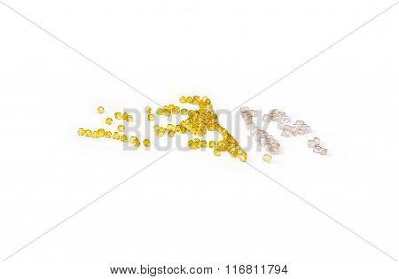 White Natural Diamonds And Yellow Synthetic Diamonds