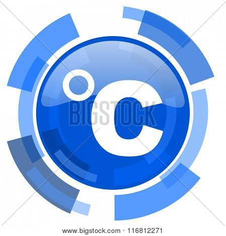 celsius blue glossy circle modern web icon