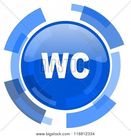 toilet blue glossy circle modern web icon