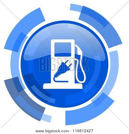 fuel blue glossy circle modern web icon