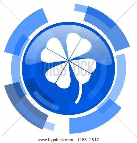 four-leaf clover blue glossy circle modern web icon