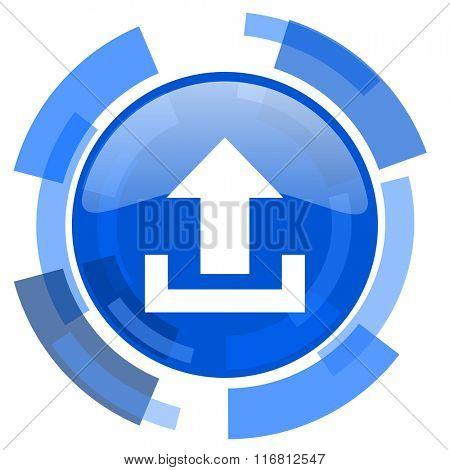 upload blue glossy circle modern web icon
